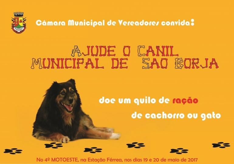 No motoeste, a Câmara de Vereadores e Rádio Cultura irão arrecadar donativos aos animais do Canil Municipal
