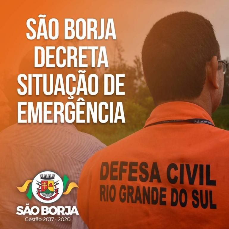 São Borja decreta situação de emergência