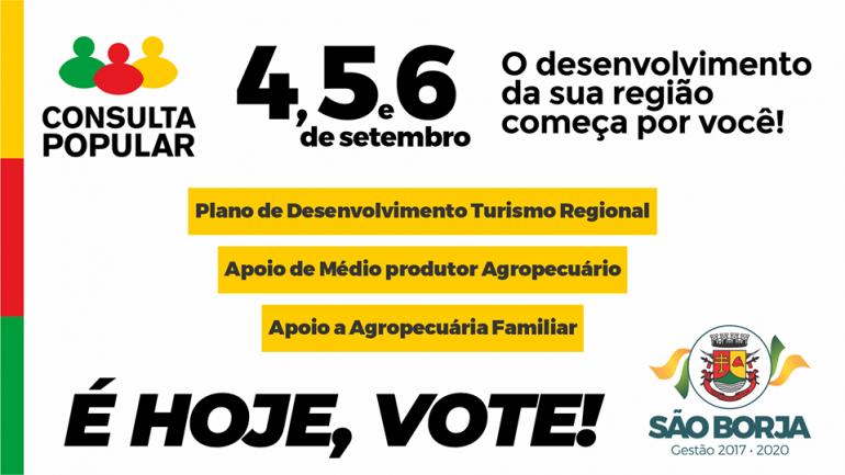 Consulta Popular acontece em São Borja nos dias 4, 5 e 6 de setembro