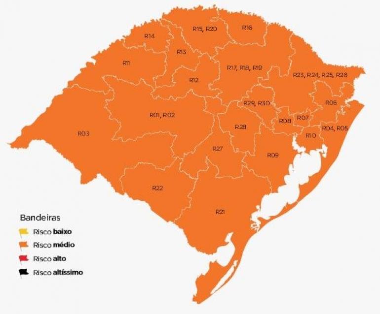 Mapa preliminar do distanciamento controlado todas regiões na cor laranja