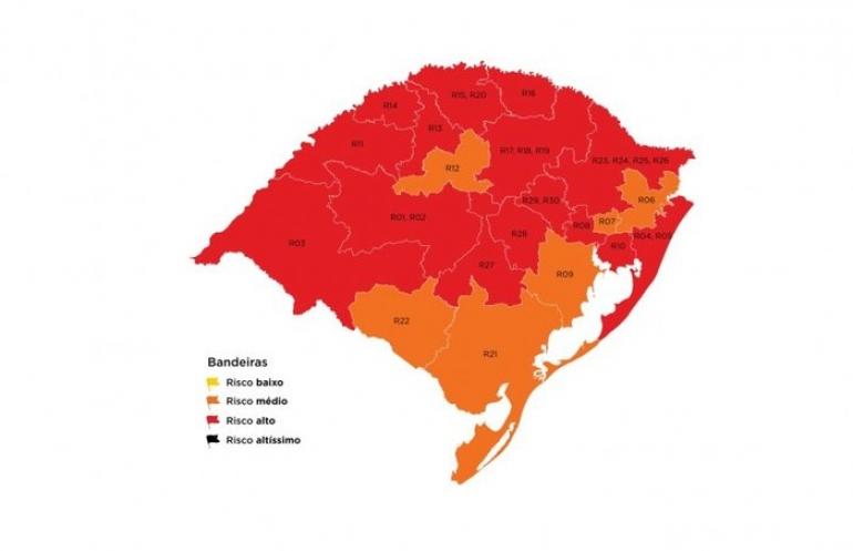 Mapa definitivo mantém 15 regiões em bandeira vermelha
